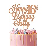 EDSG Personalised Happy Birthday Cake Topper | Custom Cake Decoration with Any Name Age | Multicolour Glitter Cake Topper 16th 18th 21st 30th 40th 60th | Rose Gold
