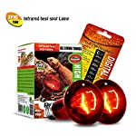 2PCS Reptile Heat Lamp Bulb Infrared Basking Spot Heat Lamp for Reptiles & Bearded Dragon Amphibian, Chicks, Dog Heating Use with Stick-on Digital Temperature Thermometer (75w)