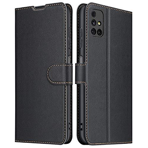 ELESNOW Hülle für Samsung Galaxy M31s, Premium Leder Klappbar Wallet Schutzhülle Tasche Handyhülle mit [Magnetisch, Kartenfach, Standfunktion] für Samsung Galaxy M31s (Schwarz)