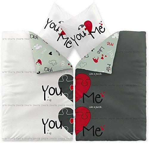 CelinaTex Fashion Bettwäsche 155x220 cm 4teilig Baumwolle Du & Ich Herz Weiß Grau Rot