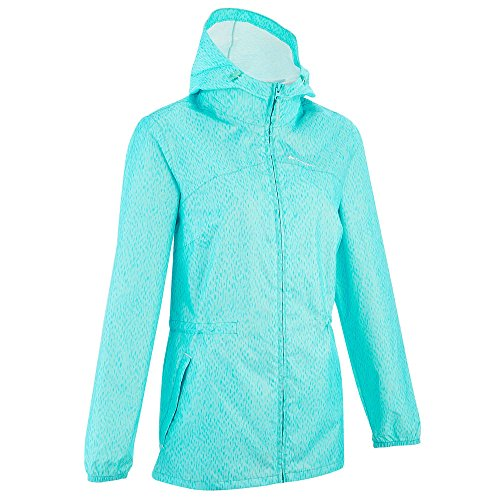 Quechua Women's Raincut Zip Waterproof Nature Hiking Rain Jacket - Blue (2XS)