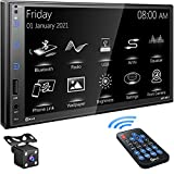 P.L.Z Upgrade Car Stereo System Compatible with iOS or Android Phones,7 Inch Double Din HD Touchscreen Monitor Car Radio,Supporting Mirror Link,Bluetooth 5.1, Rear Front View Camera, MP3, USB, AUX