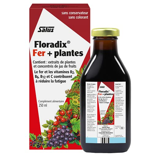 Salus Floradix® Fer + Plantes - Formule Liquide Anti-Fatigue Riche en Fer - Enrichi en Vitamine C pour une Bonne Absorption - 250 ml