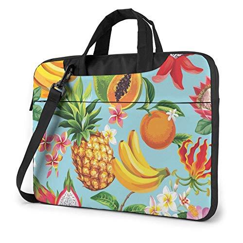 Tropical Fruits and Flowers Laptop Bag Messenger Bag Briefcase Satchel Shoulder Crossbody Sling Working Bag 14 Inch