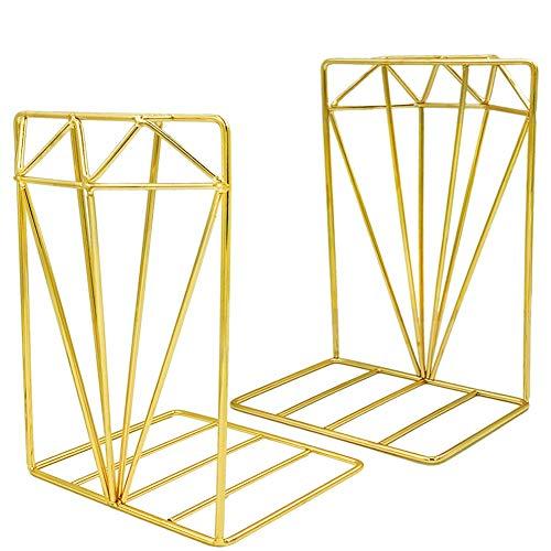 EAHUHO Buchstützen Metall Gold Bücherregal Sammlung - 3D-Stereo-Diamant-Design, ideal für die Organisation von Büchern Zeitschriften CDs usw. Für die Heimdekoration im Büro (Gold)
