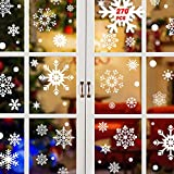 Tuopuda Noël Fenetre Stickers 270 Pièces Flocons de Neige Noël Autocollants Fenetre Décoration Stickers Muraux pour Fenêtres Home Decor