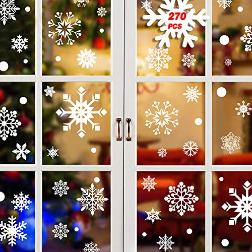 Tuopuda 270 PCS Finestra Natale Vetrofanie Adesivo Fiocco Di Neve Natale Adesivi Murali Rimovibile Vetrofanie Fai Da Te Wallpaper Senza Colla Stickers Finestra Decorazione 135 PCS Focco Di Neve