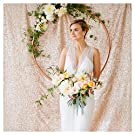 Shimmer Backdrop Curtain 7ftx7ft Champagne Blush Sequin Backdrop Photography Photo Booth Backdrop Background for Wedding Party