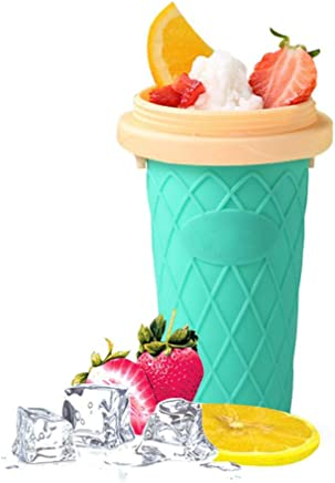 Refrigeration Smoothie Cup, Manual Silicone Smoothie Cups with Dome Lid - No Plug Summer Magic Smoothie Cup with Straw/Spoon DIY for Juice Milkshake