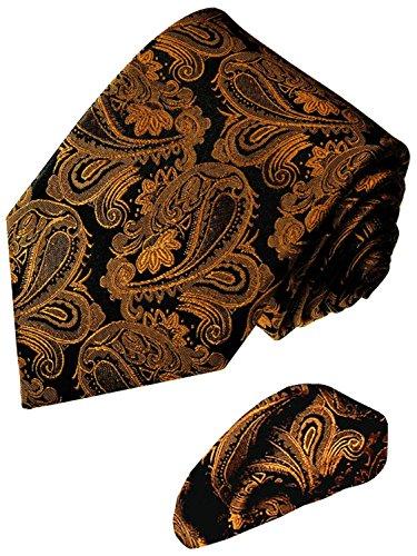 Lorenzo Cana - Marken 2 er Set aus 100% Seide - Krawatte mit Einstecktuch Paisley Braun Schwarz - 7714401