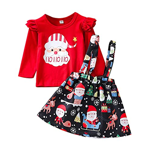 Baby Kids Girls Christmas Plaid Print Tops Suspender Skirt Set Outfits Toddler 2pcs Sets Beautiful Clothing Dress Red