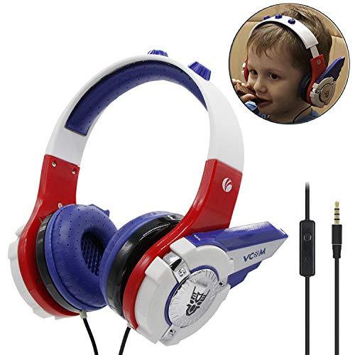 Auriculares para niños, diseño de robots Chirdren Friendly cómodo niños niñas música auriculares con limitación del volumen - Para iPad iPhone Smartphones Computadoras Tablet Kindle -por VCOM