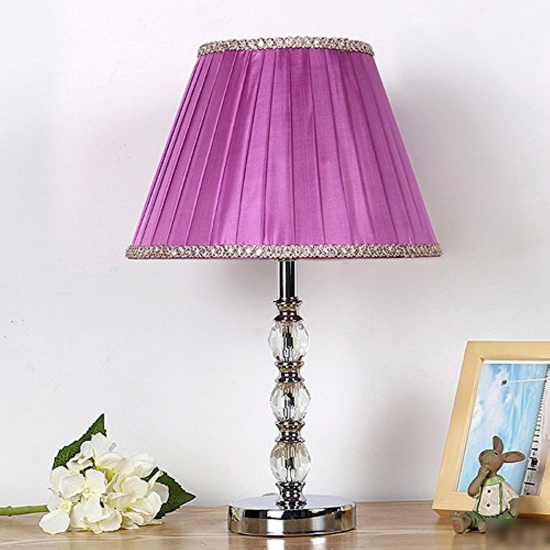 Wanson Tischlampe Modernen Tischlampe Schlafzimmer Wohnzimmertisch Lampe K9 Kristall Tischleuchten Luxus Tischlampe Durchmesser 30Cm E27 Lila Lampe