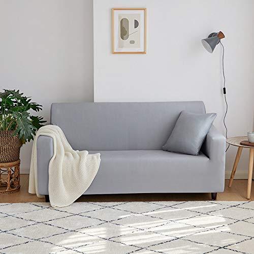 Funda de sofá elástica de Uso General Four Seasons, Adecuada para sofás en Forma de L, en Forma de U, Varias Toallas de sofá, Gris Zorro Plateado para Cuatro Personas 235-300cm
