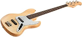 Monoprice Indio Jamm Flamed Maple Electric Bass - Natural, with Gig Bag