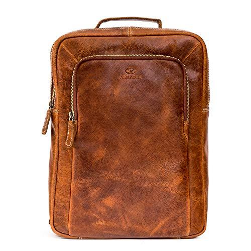 ALMADIH BENE BH - Mochila de piel de 14 pulgadas para portátil, bolsa de viaje,...
