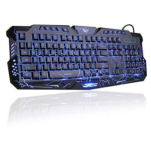 BlueFinger LED Gaming Keyboard,Mechanical Feeling USB Wired Computer Keyboard,114 Keys Letters Glow,3 Color Blue/Red/Purple Led Backlit Keyboard for Laptop PC Computer Game Work