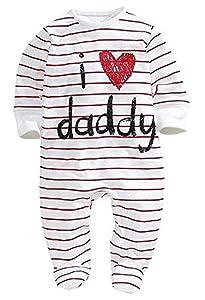 Bebé Pelele de Manga Larga Mono Unisex Mameluco Infantil de Algodón para Recién Nacido Pijama de Una Pieza Body para Niños Pequeños Ropa para Dormir (Rayas, 0-6 Meses)