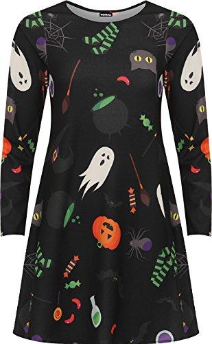 WearAll - Damen Plus Übergröße Halloween Druck Schick Kostüm Lang Hülle Damen Abgefackelt Schaukel Kleid - Schwarz - 54-56