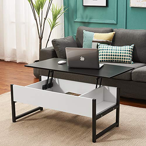 Metal and Wood Coffee Table, Lift Up Coffee Table with Sliding Top Living Room Furniture with Separate Storage (Black+White)