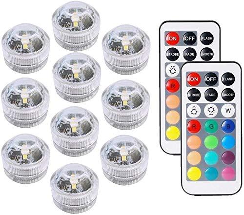 10 piezas mini Impermeable Sumergible LED Luz RGB, Luces Submarinas con Batería,Lámpara Decorativa para Exteriores, Interior, Jardín, Fiesta, Acuario, Pecera, Jarrón con agua