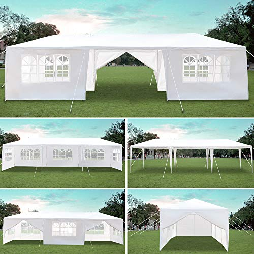 10x30 Party Tent Canopy Tent for Outdoor Wedding Party Camping BBQ Backyard w/ Removable Sidewalls PE Cloth & Waterproof (Away from Windy Weather)