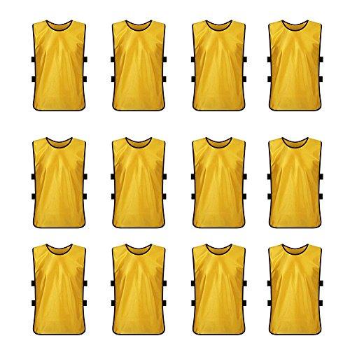 TopTie Pinnies Scrimmage Westen (12 Stück) – perfekt als Basketballtrikot, Fußballtrikot Kindergröße gelb