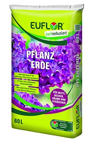 Euflor Pflanzerde torfreduziert 60 L Sack hochwertige Pflanzerde für alle Pflanzungen, torfreduzierte, ressourcenschonende Rezeptur mit Vitalhumus