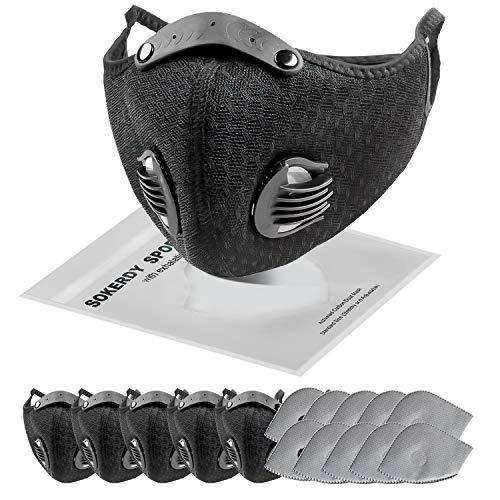 SOKERDY Sports Masks 5Piece with10PCS Filters Net Masks Washable Reusable Masks Balaclava Mask Sports Mask Black