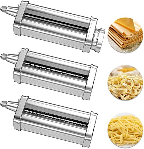 3 Piece Pasta Roller Cutter Attachment Set Compatible with KitchenAid Stand Mixers, Included Pasta Sheet Roller, Spaghetti Cutter, Fettuccine Cutter Maker Accessories and Cleaning Brush