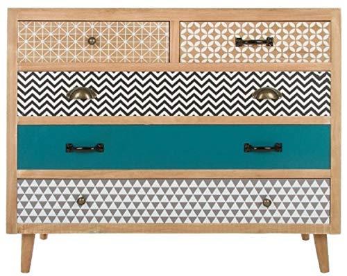 Casa Padrino Kommode mit 5 Schubladen Naturfarben/Mehrfarbig 90 x 40 x H. 80 cm - Kommode im 70er Jahre Design