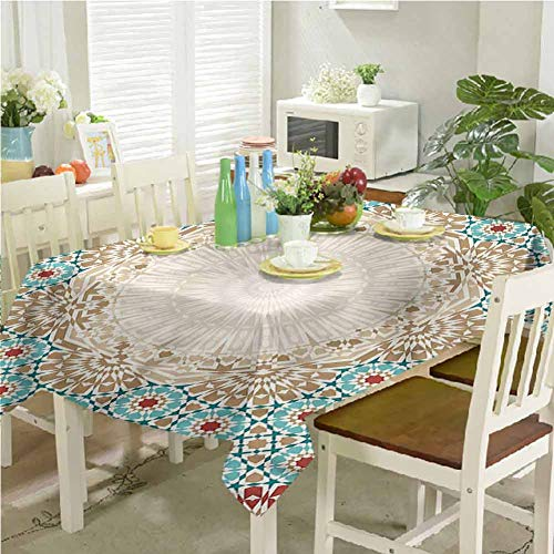 KaMiao Table Cloth for Dinner Parties Antique Floral Mosaic Form 54'x90' Patio Rectangle Tablecloth