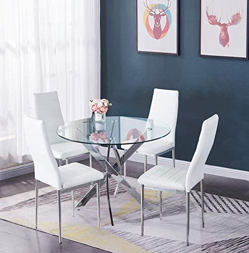 GOLDFAN Essgruppe mit Glas Runder Esstisch und 4 Weiß Essstühlen Küchentisch für Wohnzimmer Küche Büro