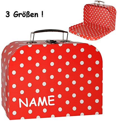 alles-meine.de GmbH 1 Stück _ Koffer / Kinderkoffer - GROß -  Punkte - rot & weiß  - incl. Name - 30 cm - ideal für Spielzeug und als Geldgeschenk - Mädchen & Jungen - Pappkoff..