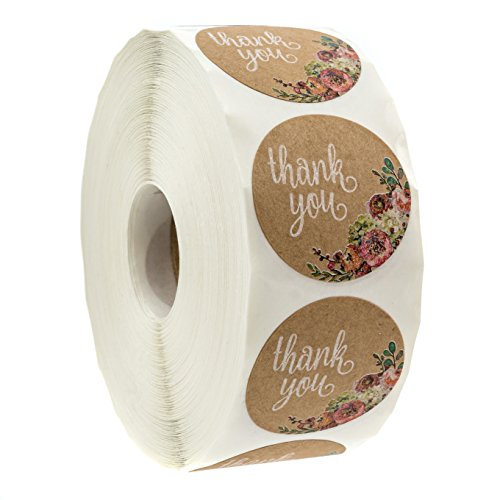 "Brown Kraft Floral Thank You Stickers - 1.5"" Circle Labels / 1000 per Pack"