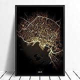 Leinwanddruck,Oslo City Schwarz Golden Custom Welt