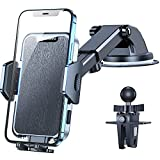 VICSEED [2021 Military-Grade Never Melt & Fall] Cell Phone Holder for Car Phone Holder Mount Dashboard Windshield Air Vent Phone Mount for Car Strong Suction Car Phone Mount Fit for All Mobile Phones