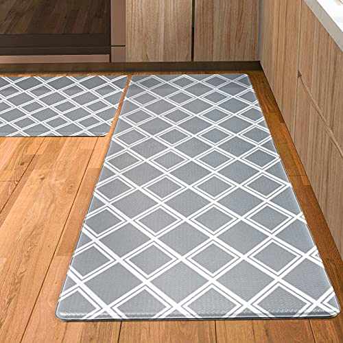 Kitsure Kitchen Rugs, [2 PCS] Cushioned Anti-Fatigue Kitchen Mat, Waterproof & Non-Slipping Kitchen Mat for Floor, Durable Kitchen Rugs and Mats for Kitchen & Laundry, Resilient Kitchen Mats, Gray