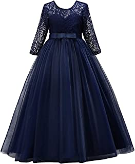 OBEEII Little Big Girl Lace Flower Tutu Dress Pageant Party Wedding Junior Bridesmaid Birthday Formal Dance Evening Maxi Gown