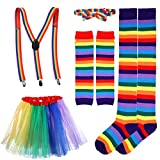 PRETYZOOM Conjunto de Falda Tutú Arcoiris Corbata de Lazo de Colores Arcoiris Guantes Largos Medias Tirantes Disfraces Conjunto de Accesorios (Adulto)