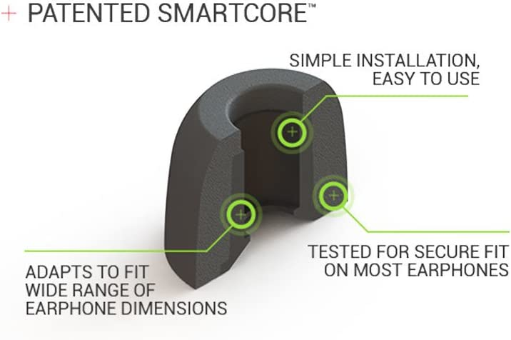 Medium, 3 Pairs Conforms To Ear for A Secure Fit Fits Most Earphones Comply SmartCore Sport Pro Premium Memory Foam Earphone Tips with SweatGuard Noise Reducing Earbud Tips for Active Lifestyle