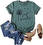 Anbech Womens Dandelion Graphic T-Shirts Casual Summer Letter Print Blouse Just Breathe Shirts