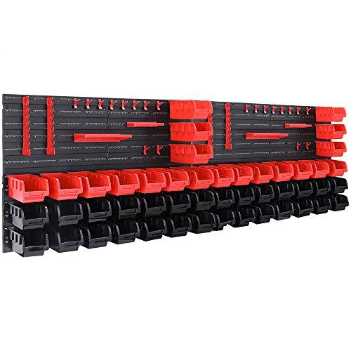 Deuba Estantería de bricolaje con cajas ganchos y portaherramientas color Rojo y Negro 86 piezas organizador para taller