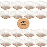 Large Table Leg Floor Protectors 1-15/16' to 2-1/16' (49mm-53mm) Large Furniture 2 inch Sofa Leg Caps Square Silicone, Large Chair Leg Tips with Felt Pads Clear (16 Pack)