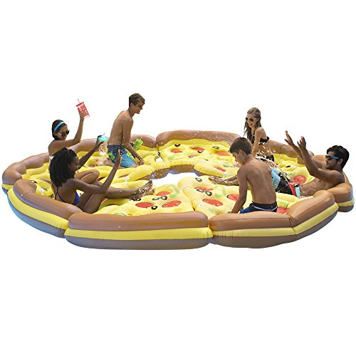 Ocean Blue Deluxe Pizza Slice Swimming Pool Float (8 Pack)