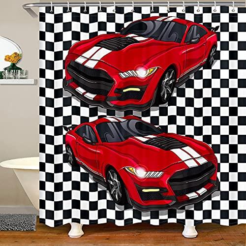 Child Racing Car Bath Curtain Race Sports Car Bathroom Curtain Black And White Grid Shower Curtain Automobile Curtain Sets Mordern Design Boys Teens Bathroom Decor Waterproof Curtains,72' W X 84' L