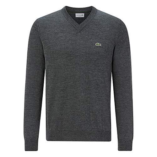 Lacoste Herren AH2181 Pullover V-Ausschnitt, Uni klassisch Basic Sweater Pulli Strickpullover Strickpulli Oberteil Langarm,Pitch Chine (050),XXL (7)