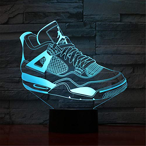 Lamp 3D bedrukte schoenen, LED-licht, 7 kleuren, USB-oplader, decoratief LED-nachtlampje, controleert de controle, decoratie voor de slaapkamer