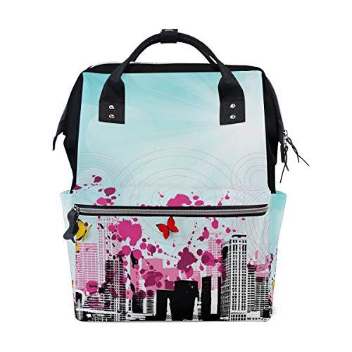 Montoj, zaino romantico in tela con farfalle città paesaggistico