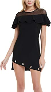 Women's Sleeveless Buttons Down Little Cocktail Party Flare Swing Mini Dress